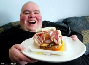 fat man with bacon