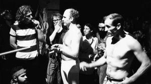 Ken Kesey and Neal Cassady bare their chests during the Merry Pranksters' Acid Test Graduation